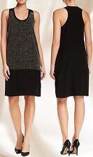 $398 Eileen Fisher Black Sequin Rivulet Silk Crepe De Chine Racerback Dress.Sz:S