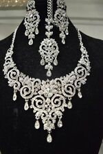 New Indian Bollywood Costume Jewellery Necklace Earring Set Silver Bridal Tikka