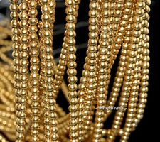 3MM GOLD HEMATITE GEMSTONE GOLD ROUND 3MM LOOSE BEADS 16""