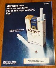 1972 KENT CIGARETTE PRINT AD~KING SIZE OR DELUXE 100'S~Tobacco~Pack~Smokes