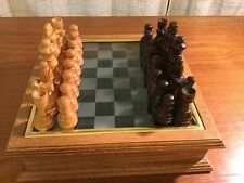 VTG BRENTWOOD CHESS & CHECHERS SET WITH OAK STORAGE CABINET