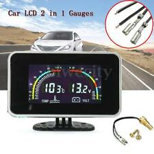 12V/ 24V Car 2 in 1 LCD Digital Display Voltmeter / Water Temp Temperature Gauge