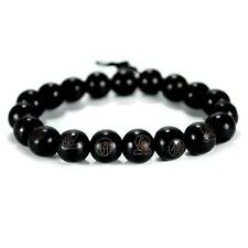 BLACK WOOD WRIST MALA 10mm Prayer Bead Bracelet Stretch Carved Buddha Jewelry