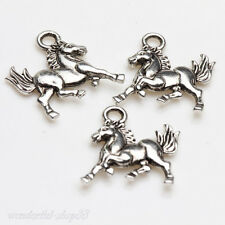 25Pcs New Tibet Silver Double Side Horse Charm Jewelry Pendant  Necklace 15x14mm