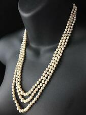 VINTAGE 1963 9CT GOLD DIAMOND GENUINE AKOYA PEARL TRIPLE STRAND NECKLACE - 724