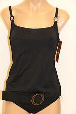 NWT Captiva Swimsuit Tankini Bikini 2 piece set Sz M D cup solid Black
