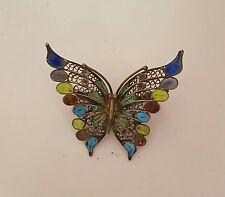 """Vintage 800 Silver Filigree Enamel Butterfly Brooch Pin ~ 1 3/4"""""""
