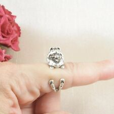 Antique Silver Plated Cute Pomeranian Dog Ring Size N - Adjustable