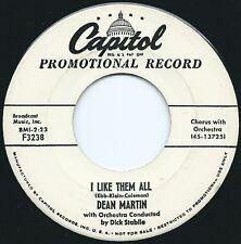 DEAN MARTIN - HEAR IT -1955 PROMO COPY - I LIKE THEM ALL / IN NAPOLI
