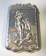 Antique Victorian Art Nouveau Silver NUDE Venus Mermen Mermaid Match Safe Vesta