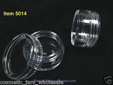 50 Cosmetic Jars Plastic Beauty Makeup Container Pot 5 Gram 5 ml Clear Top .5014