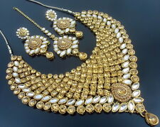 LCT CZ PEARL KUNDAN GOLD TONE NECKLACE SET BOLLYWOOD BRIDAL PARTY WEAR JEWELRY