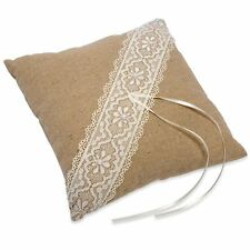 Vintage Style Wedding Ring Pillow - Linen & Lace Square Cushion - Natural Rustic
