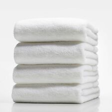 SET OF 4 NEW WHITE HOSPITALITY 100% COTTON THICK HOTEL QUALITY BATH TOWELS