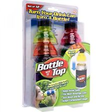 As Seen On TV Bottle Top TM Soda/Beer Can Snap On Toppers New in Box Set of 12