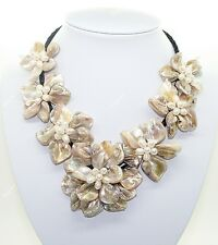"""Stunning Handmade Freshwater Pearl Sea Shell Flower Leather Necklace 18""""- Beige"""