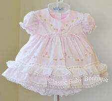 NWT Will'beth Pink Vintage Heirloom Lace 2pc Dress Newborn Bloomers Girls Frilly