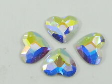 12 Pcs. 10mm HEART CRYSTAL AB FLAT BACK Swarovski rhinestones