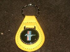 1960's FORD MUSTANG TRI-BAR RUNNING HORSE LOGO LEATHER KEYCHAIN NEW YELLOW