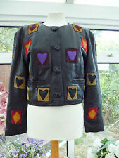 FABULOUS *GAPELLE* BLACK 100% SOFT LEATHER HEARTS & DIAMONDS PATTERNED JACKET S