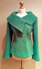 GREEN MONSOON COAT BUTTON SIZE 14 WOOL MIX