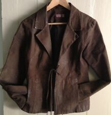 Real Suede Leather Cowgirl Country & Western Line Barn Dancing Jacket Size 12