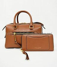 SET of Marc Jacobs Recruit Small Bauletto Satchel/Shoulder Bag + Wallet Cognac