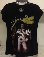 NWOT Ladies JIMI HENDRIX GUITAR GOLD GLITTER BLACK Tee Shirt L