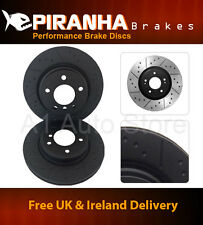 Ford Fiesta 1.25 Non ABS 99-02 Front Brake Discs Piranha Black Dimpled Grooved