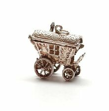 Vintage 925 Silver XL GYPSY WAGON ROOF OPENS TO FORTUNE TELLER Charm 7.2g
