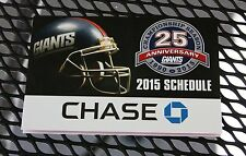 NEW YORK GIANTS, 2015 NFL Football pocket schedule, Chase, NEW, very nice, NM