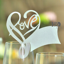 12PCS Silver Love Heart Wine Glass Place Cards Wedding Name Party Table Decor