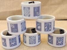 Vintage Napkin Rings Holders Blue White Ceramic Set of 6