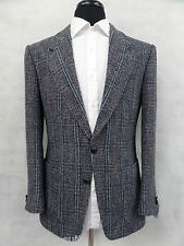 Men's Blue Checked Tailored Fit Harris Tweed Jacket Blazer 38R EZ57