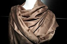 "NEW $600 Cartier Paris Dark Beige Logo Wool Silk Scarf Shawl Stole Wrap 82""x26"""