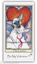ORIGINAL DESIGN SIAMESE CAT TAROT PAINTING VALENTINE'S DAY CARD SUZANNE LE GOOD