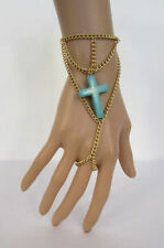 New Women Gold Metal Hand Chain Slave Ring Fashion Bracelet Turquoise Blue Cross