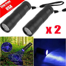 2x UV Ultra Violet 12LED Flashlight Mini Blacklight Tactical Torch Light La