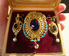 Antique Victorian Amethyst Paste & Filigree Pinchbeck Brooch & Earrings Set