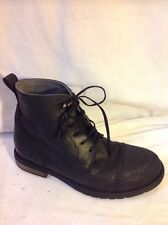 Girls STEP2WO Black Leather Boots Size 31