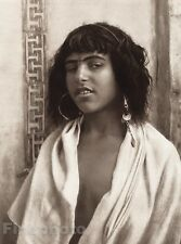 1924 Original NORTH AFRICA Algiers Berber Girl Photo Art By LEHNERT & LANDROCK