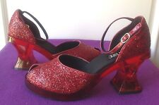 "Hot Topic - ""Bloom"" Red Glitter Ankle Strap Heels - 'Ruby Slippers!' NIB Size 11"