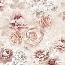 Floral Wallpaper Shabby Chic Contemporary Rose Pink Vintage French Brown Drawing