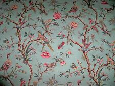 BRUNSCHWIG & FILS BIRDS OF A FEATHER TOILE LINEN FABRIC 12 YARDS CELADON BLUE