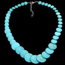 Tibetan Silver Full Round Turquoise Pendant Necklace Xmas party wedding Jewelry