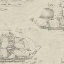 Wallpaper Designer Slate Gray Sailing Ships Over Taupe Black Old World Map