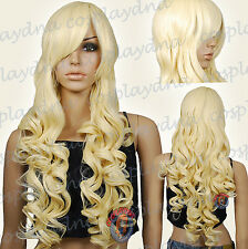 33 inch Hi_Temp Light Golden Blonde Curly wavy Long Cosplay DNA Wigs 967LGB