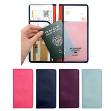Women Leather RFID Blocking Travel Passport Wallet Ticket Document Long Holder
