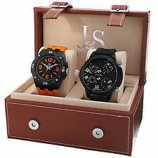 New Men's Joshua & Sons JS-46-01 Quartz Multifunction Silicone Strap Watch Set