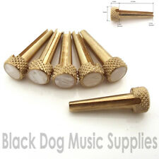 Set of six acoustic guitar  brass bridge pins with pearl inlays